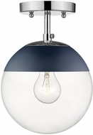 Golden Lighting 3219-SF-CH-MNVY Dixon Modern Chrome / Navy Home Ceiling Lighting