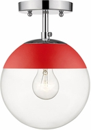 Golden Lighting 3219-SF-CH-RED Dixon Contemporary Chrome / Red Overhead Light Fixture