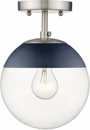Golden Lighting 3219-SF-PW-MNVY Dixon Modern Pewter / Navy Ceiling Light