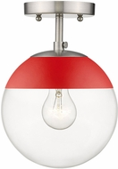 Golden Lighting 3219-SF-PW-RED Dixon Modern Pewter / Red Ceiling Lighting Fixture