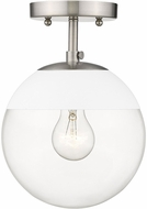 Golden Lighting 3219-SF-PW-WHT Dixon Contemporary Pewter / White Ceiling Light Fixture