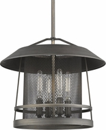 Golden Lighting 3285-4P-GMT Parsons Country Gunmetal Bronze Pendant Hanging Light