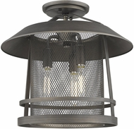Golden Lighting 3285-SF-GMT Parsons Rustic Gunmetal Bronze Flush Mount Lighting
