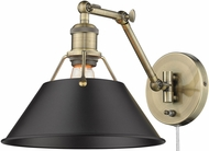 Golden Lighting 3306-A1W-AB-BLK Orwell Aged Brass Wall Swing Arm Lamp