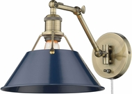 Golden Lighting 3306-A1W-AB-NVY Orwell Aged Brass Wall Swing Arm Lamp