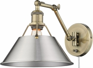 Golden Lighting 3306-A1W-AB-PW Orwell Aged Brass Swing Arm Wall Lamp