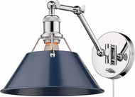 Golden Lighting 3306-A1W-CH-NVY Orwell Chrome Wall Swing Arm Lamp