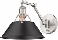 Golden Lighting 3306-A1W-PW-BLK Orwell Pewter Swing Arm Wall Lamp