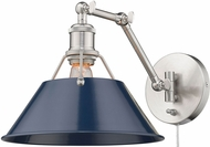 Golden Lighting 3306-A1W-PW-NVY Orwell Pewter Swing Arm Wall Lamp