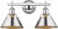 Golden Lighting 3306-BA2-CH-CH Orwell Contemporary Chrome 2-Light Vanity Light