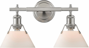Golden Lighting 3306-BA2-PW-OP Orwell PW Contemporary Pewter 2-Light Bath Sconce