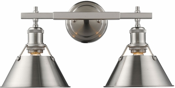 Golden Lighting 3306-BA2-PW-PW Orwell PW Modern Pewter 2-Light Vanity Light Fixture