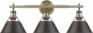 Golden Lighting 3306-BA3-AB-RBZ Orwell AB Contemporary Aged Brass 3-Light Bathroom Wall Sconce