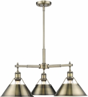 Golden Lighting 3306-D3-AB-AB Orwell AB Contemporary Aged Brass Hanging Chandelier