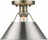 Golden Lighting 3306-FM AB-PW Orwell Contemporary Aged Brass Ceiling Light Fixture