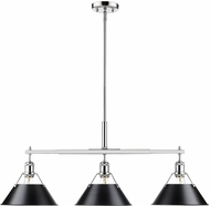 Golden Lighting 3306-LP-CH-BLK Orwell Modern Chrome Kitchen Island Light