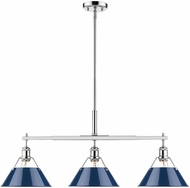 Golden Lighting 3306-LP-CH-NVY Orwell Modern Chrome Kitchen Island Light Fixture