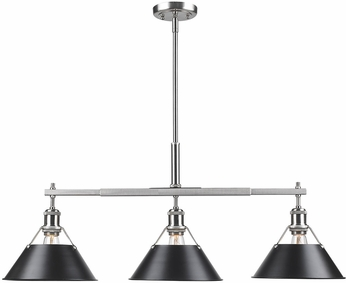 Golden Lighting 3306-LP-PW-BLK Orwell PW Modern Pewter Kitchen Island Light