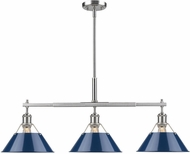Golden Lighting 3306-LP PW-NVY Orwell Contemporary Pewter Island Light Fixture