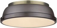 Golden Lighting 3602-14-AB-RBZ Duncan AB Modern Aged Brass Flush Mount Lighting Fixture