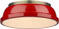 Golden Lighting 3602-14-AB-RD Duncan AB Contemporary Aged Brass Flush Ceiling Light Fixture