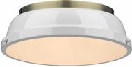 Golden Lighting 3602-14-AB-WH Duncan AB Modern Aged Brass Flush Mount Ceiling Light Fixture