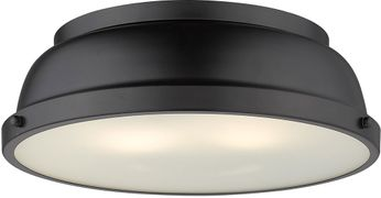 Golden Lighting 3602-14-BLK-BLK Duncan Modern Black Flush Lighting