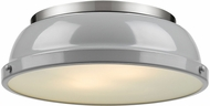Golden Lighting 3602-14-PW-GY Duncan Modern Pewter Flush Mount Lighting Fixture
