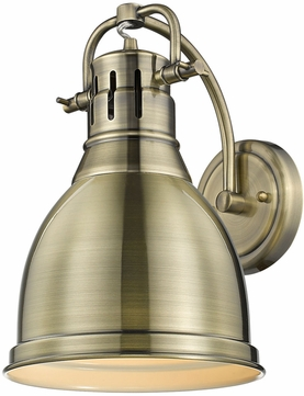 Golden Lighting 3602-1W-AB-AB Duncan AB Contemporary Aged Brass Wall Mounted Lamp