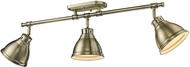 Golden Lighting 3602-3SF-AB-AB Duncan AB Contemporary Aged Brass 3-Light Home Track Lighting