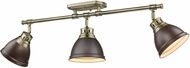 Golden Lighting 3602-3SF-AB-RBZ Duncan AB Modern Aged Brass 3-Light Track Lighting Kit