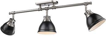 Golden Lighting 3602-3SF-PW-BLK Duncan Modern Pewter Home Track Lighting