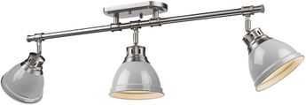 Golden Lighting 3602-3SF-PW-GY Duncan Contemporary Pewter Track Lighting Kit