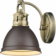 Golden Lighting 3602-BA1-AB-RBZ Duncan AB Contemporary Aged Brass Wall Sconce Light