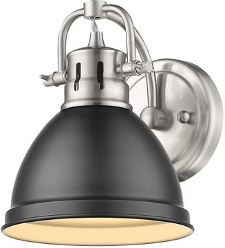 Golden Lighting 3602-BA1-PW-BLK Duncan Modern Pewter Wall Lighting Fixture