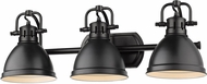 Golden Lighting 3602-BA3-BLK-BLK Duncan Contemporary Black 3-Light Bath Sconce