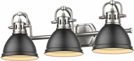 Golden Lighting 3602-BA3-PW-BLK Duncan Modern Pewter 3-Light Vanity Light Fixture
