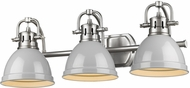Golden Lighting 3602-BA3-PW-GY Duncan Contemporary Pewter 3-Light Vanity Lighting Fixture