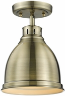 Golden Lighting 3602-FM-AB-AB Duncan AB Contemporary Aged Brass Home Ceiling Lighting