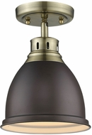Golden Lighting 3602-FM-AB-RBZ Duncan AB Modern Aged Brass Overhead Light Fixture