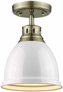 Golden Lighting 3602-FM-AB-WH Duncan AB Contemporary Aged Brass Overhead Lighting Fixture