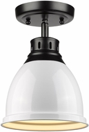 Golden Lighting 3602-FM BLK-WH Duncan Matte Black Spot Ceiling Lighting