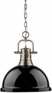 Golden Lighting 3602-L-AB-BK Duncan Contemporary Aged Brass Pendant Light Fixture