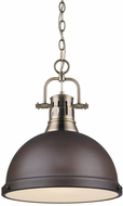 Golden Lighting 3602-L-AB-RBZ Duncan Modern Aged Brass Pendant Lighting Fixture
