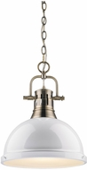 Golden Lighting 3602-L-AB-WH Duncan Contemporary Aged Brass Hanging Pendant Lighting
