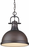 Golden Lighting 3602-L-RBZ-RBZ Duncan Modern Rubbed Bronze Pendant Lamp