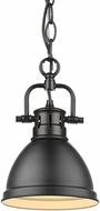 Golden Lighting 3602-M1L-BLK-BLK Duncan Contemporary Black Mini Pendant Light
