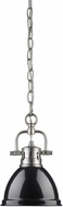 Golden Lighting 3602-M1L-PW-BK Duncan Modern Pewter Mini Hanging Light Fixture