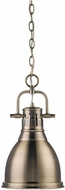 Golden Lighting 3602-S-AB-AB Duncan Modern Aged Brass Small Drop Lighting Fixture