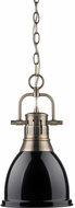 Golden Lighting 3602-S-AB-BK Duncan Contemporary Aged Brass Small Pendant Lighting